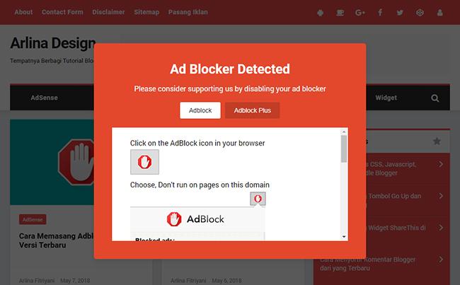 Memasang Script Anti AdBlock Terbaru di Blog seperti Arlinadesign