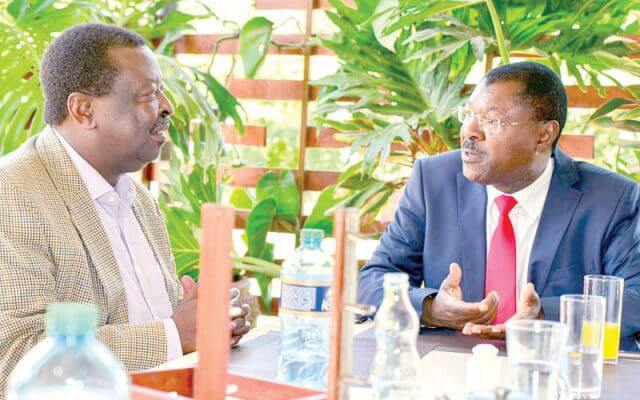 Musalia Mudavadi and Moses Wetangula in a meeting photos