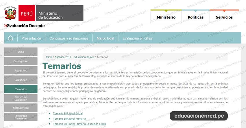 MINEDU: Temario para el Examen de Ascenso de Escala Magisterial 2019 (Prueba Única Nacional) www.minedu.gob.pe