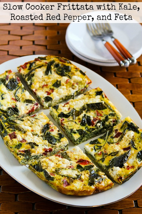 Slow Cooker Frittata with Kale, Roasted Red Peppers, and Feta