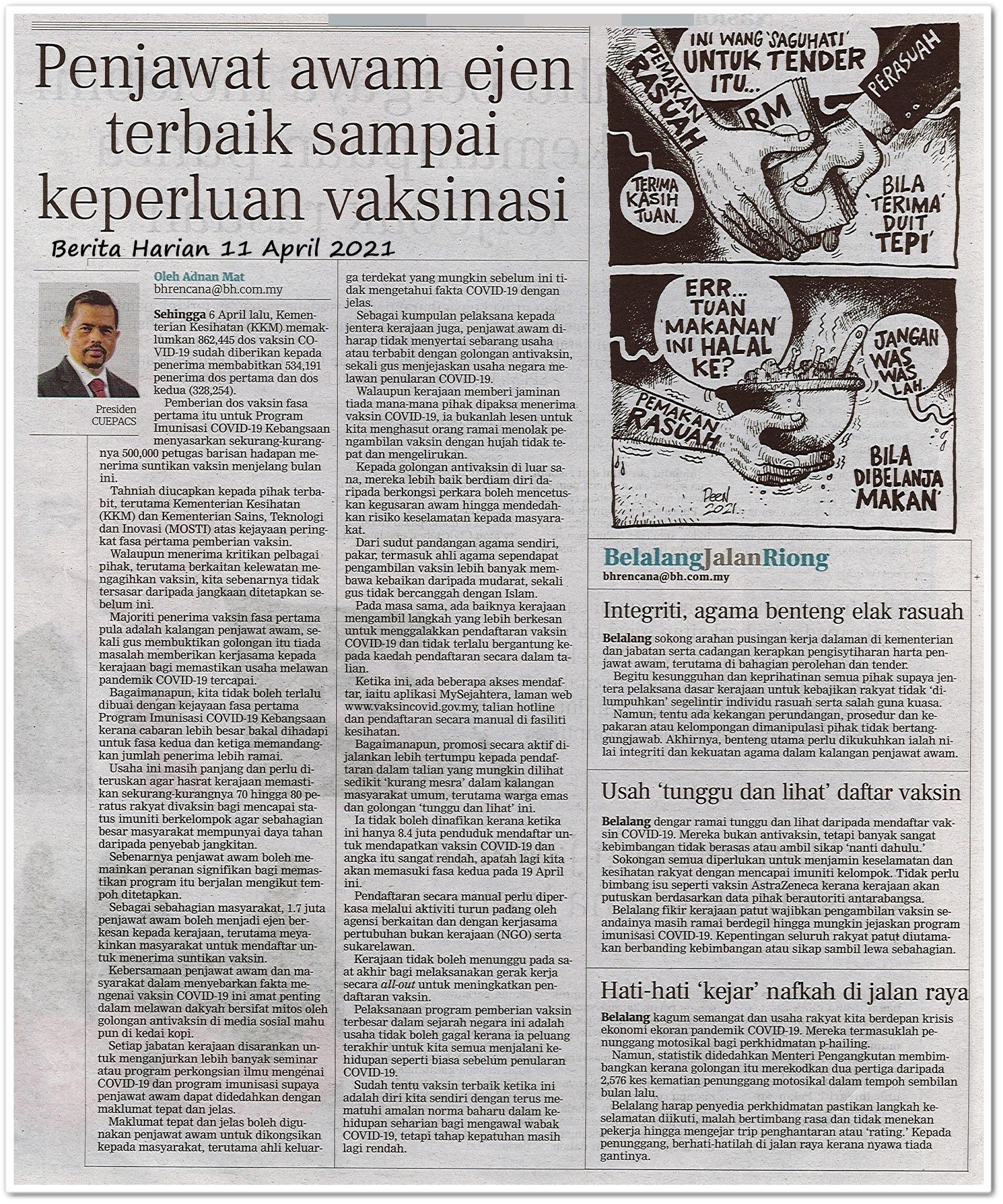 Penjawat awam ejen terbaik sampai keperluan vaksin - Keratan akhbar Berita Harian 11 April 2021
