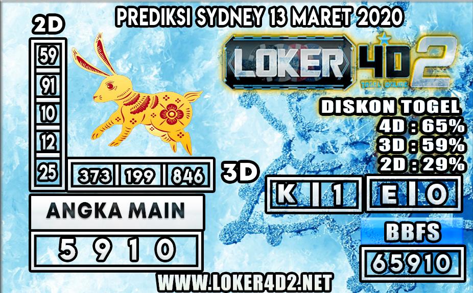 PREDIKSI TOGEL SYDNEY LOKER4D2 13 MARET 2020