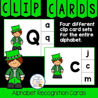 Alphabet Clip Card Center Easy Prep for Uppercase & Lowercase Leprechaun  Themed