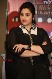 Tamil Actress Meena Latest Stills in Black Dress at TSR TV9 Awards Press Meet  0142.JPG