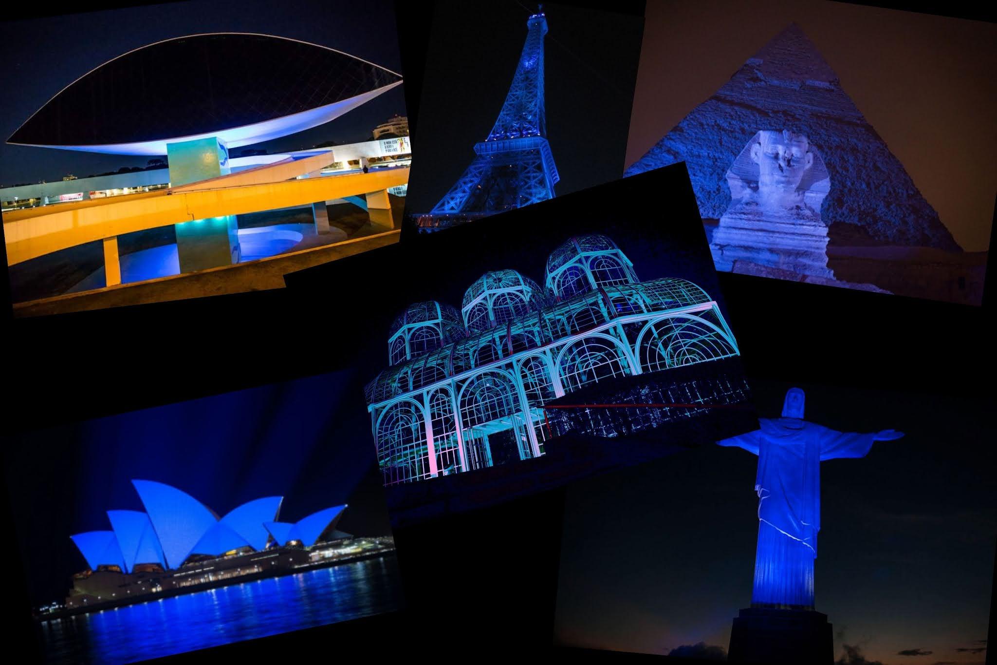 Monumentos do mundo ficaram azuis para conscientizar sobre a Síndrome do X Frágil