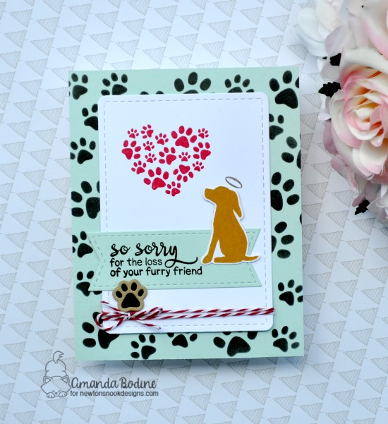 Pet Sympathy Card by Amanda Bodine | Furr-ever Friends Stamp Set and Pawprints Stencil by Newton's Nook Designs #newtonsnook #handmade