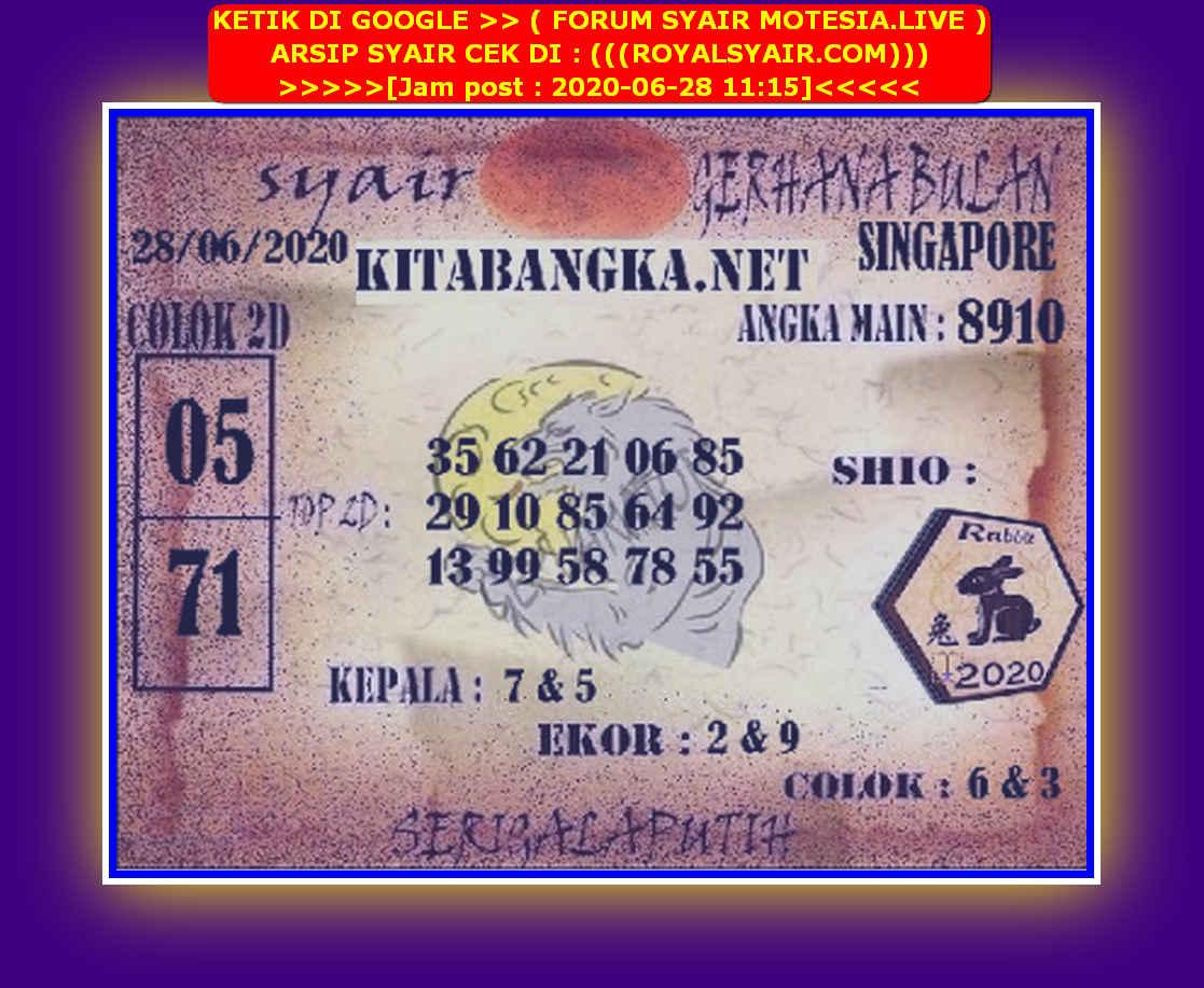 Kode syair Singapore Minggu 28 Juni 2020 115
