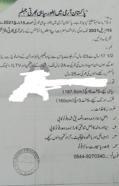 Join Pak Army Jobs 2021 as Sipahi