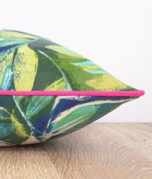Tropical Pillow with Pink Piping