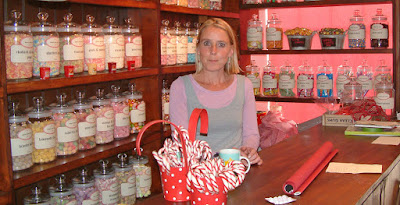 Natalie Sankey in her traditional sweet shop in Brigg town centre - picture by Ken Harrison used on Nigel Fisher's Brigg Blog