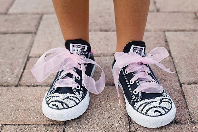 adee4a18133d Put a little bling shoe in their step with these fashionable Swarovski  Zebra Rhinestone Converse sneakers from Mommy Couture Designs.