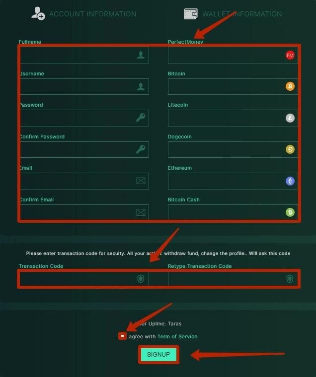 Регистрация в BitXeon 2
