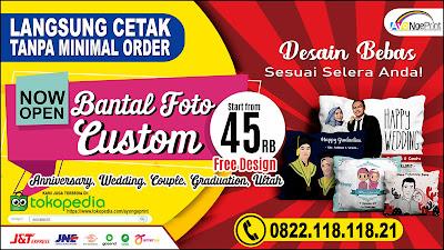 cetak bantal custom foto dan tulisan di Lengkong, Bandung