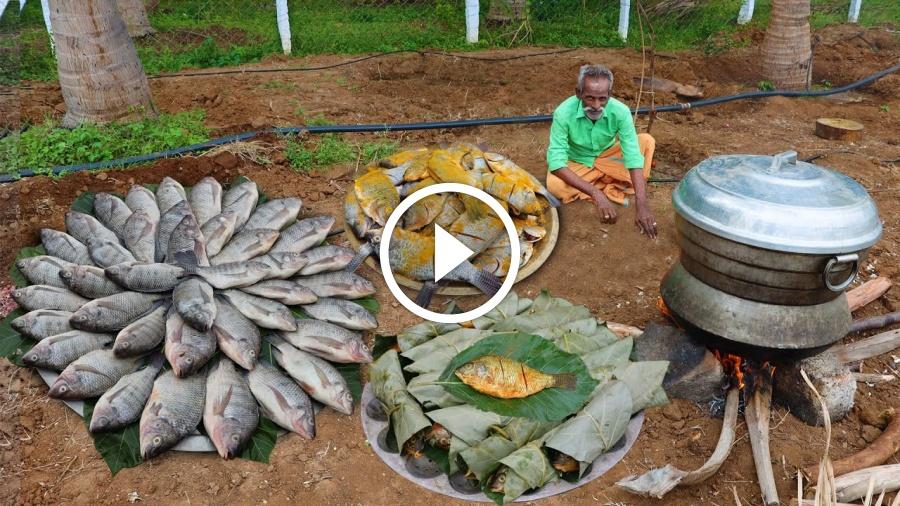 TEAK leaf BUTTER FISH Prepared by my Daddy ARUMUGAM / Village food factory