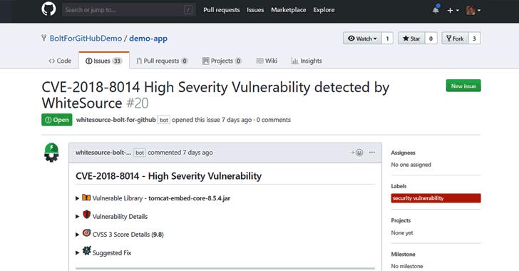 WhiteSource Bolt para GitHub aplicación gratuita de gestión de vulnerabilidades de código abierto para desarrolladores
