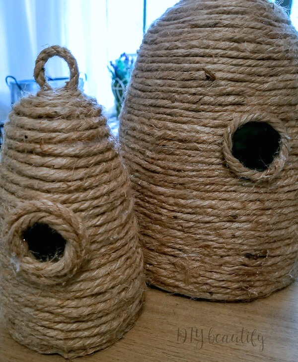 finished DIY bee skeps with hanging loops