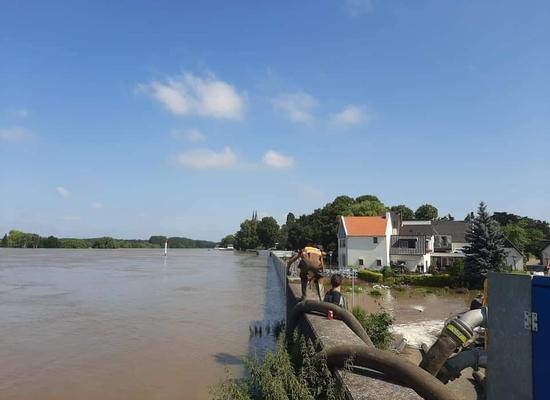 Foto Hoog water Maas, Steyl, Limburg juli 2021