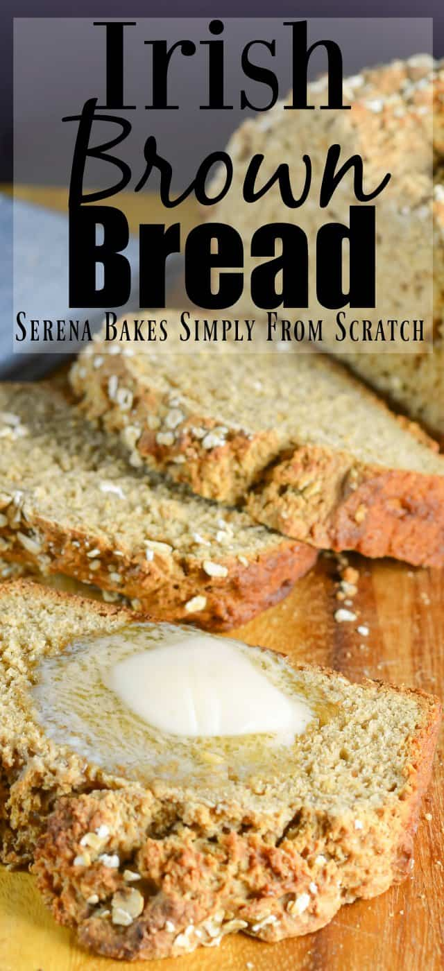 A delicious Irish Brown Bread recipe with Guinness and buttermilk for a delicious easy loaf to make all year around. A great quick bread recipe for an easy side, toasted for breakfast, or hearty sandwich loaf from Serena Bakes Simply From Scratch.