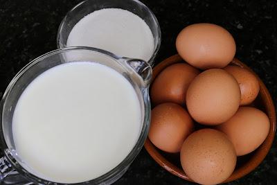 Ingredientes para flan de huevo
