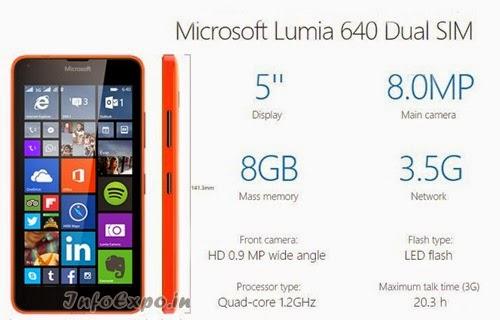 MicrosoftLumia 640: 5.0 inch,1.2GHz Quad-core WindowsPhone Specs, Price