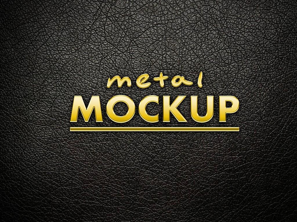 Metal logo Mockup Template PSD