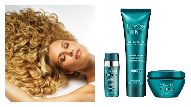 Mujer con cabello voluminoso con productos kerastase