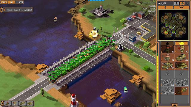 Screenshot of a bridge full of tanks in 8-Bit Armies