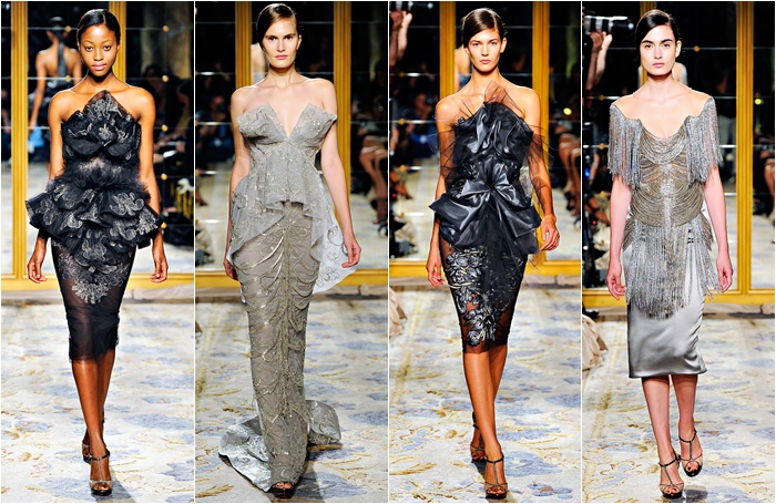 Marchesa spring 2012 collection elegant gray dresses