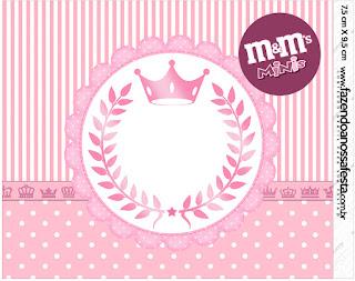 Etiqueta M&M de Corona Rosada para imprimir gratis.