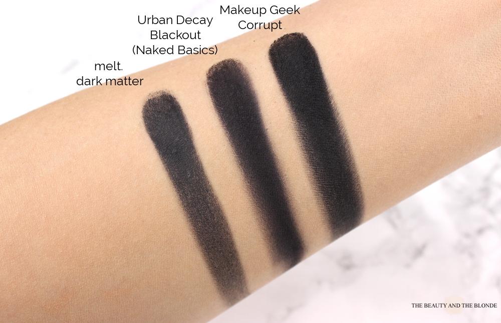 melt cosmetics the dark matter stack comparison black eyeshadow