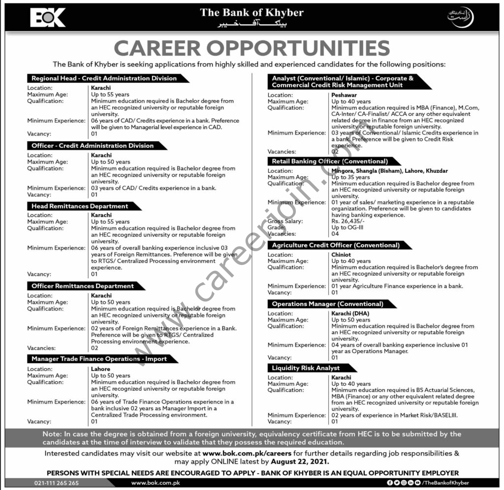 Bank of Khyber BOK Jobs August 2021
