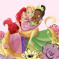 Ariel pulls Tiana and Rapunzel in for a hug