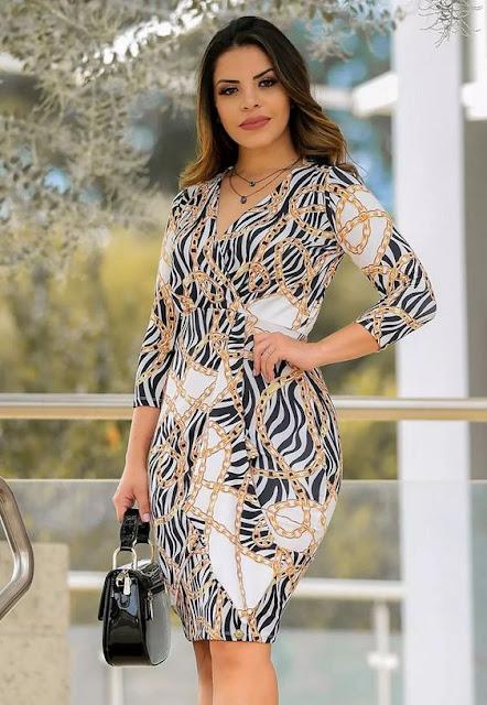 vestido tubinho -moda evangélica -Flor de Amendoa