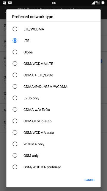 Menampilkan Pilihan Semua Jaringan WCDMA Only 4G Only di ROM Nougat Xiaomi Redmi 3