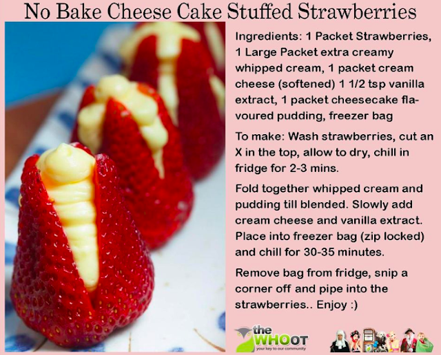 Recipe:  No-Bake Cheesecake Stuffed Strawberries!