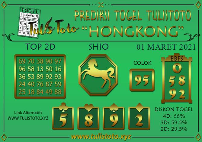 Prediksi Togel HONGKONG TULISTOTO 01 MARET 2021