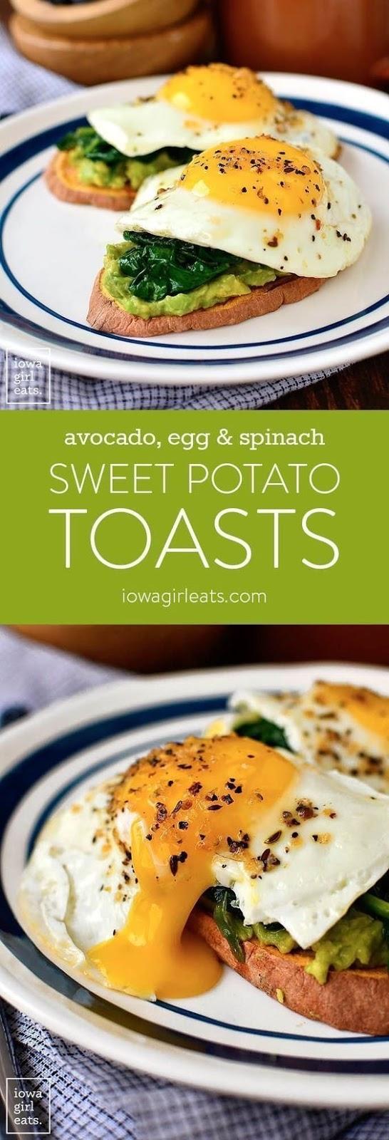Avocado, Egg And Spinach Sweet Potato Toasts