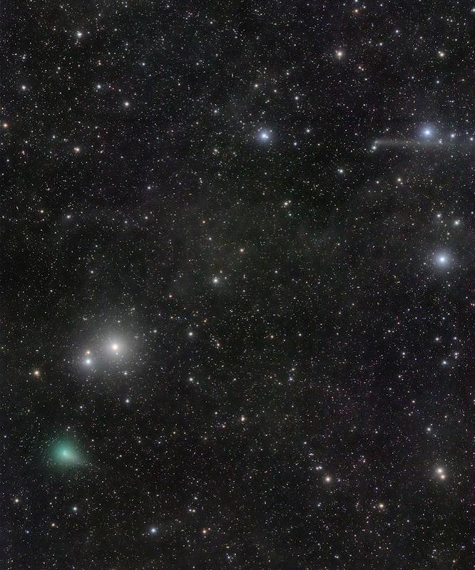Màn giao hội của hai sao chổi. Hình ảnh: Jose J. Chambo (Cometografia).