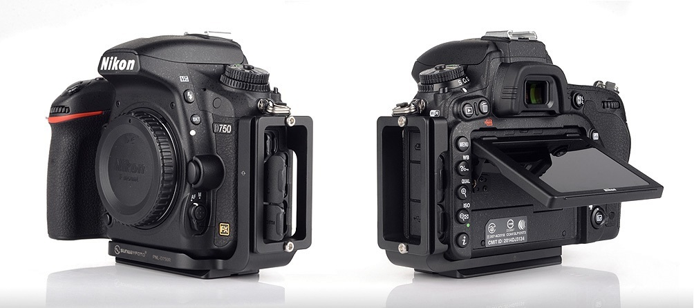 Sunwayfoto PNL-D750R Custom L Bracket on Nikon D750 w/ access to connectors and tilt LCD