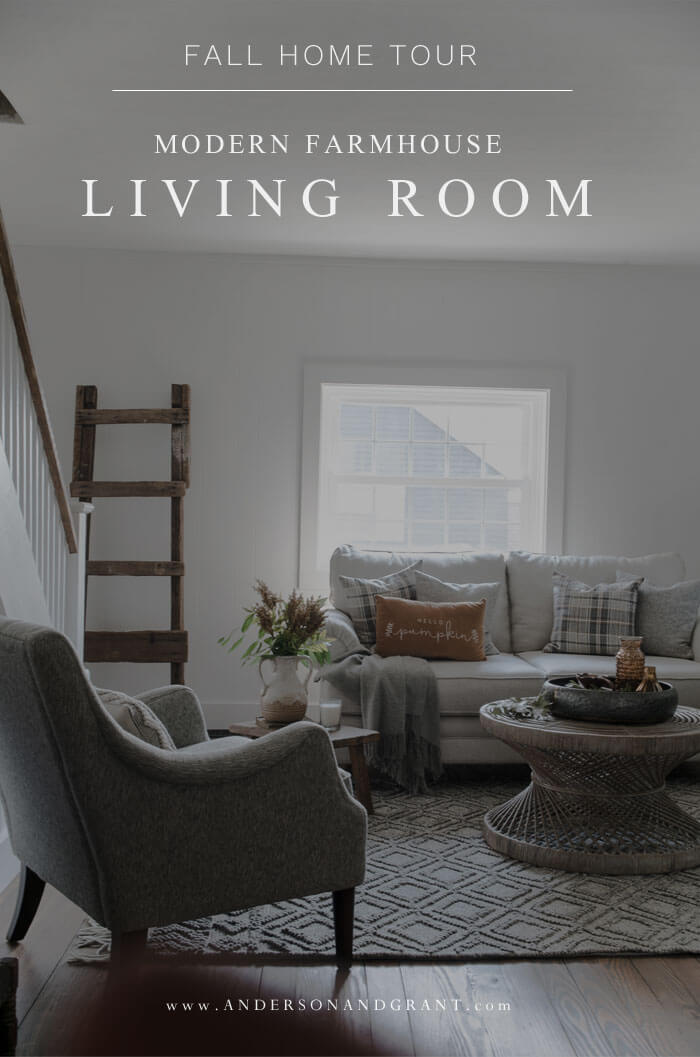 Be inspired to style your own fall living room with ideas in this modern transitional space decorated in neutral colors.