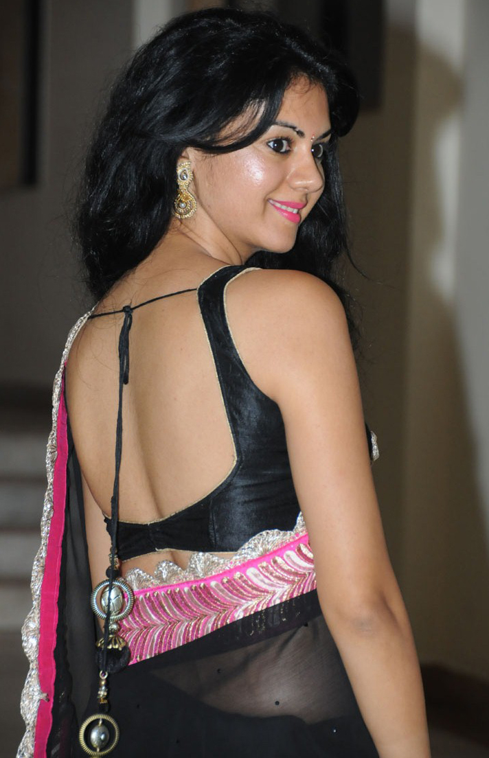 6db388f57877a2 Model wear Black Colour Backless Blouse. This Model Name is South Indian  Actress Kamna Jethmalani. Actress Kamna Jethmalani act in Tamil Telugu,  Kannada, ...