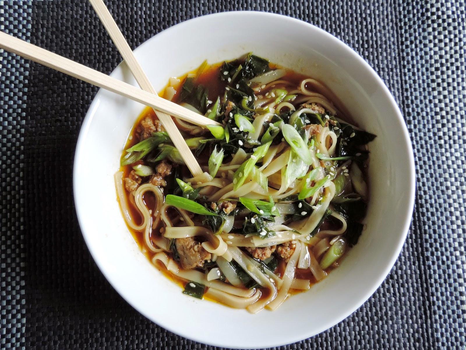 Thai Sausage and Kale Noodle Bowl