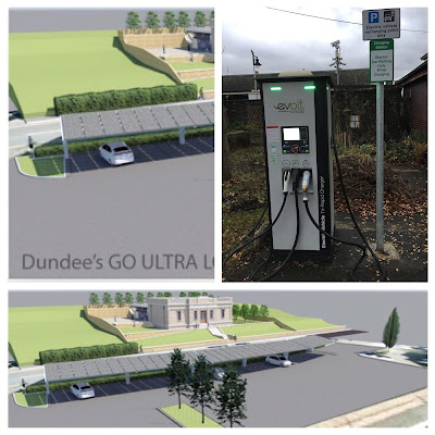 Electic vehicle charging hub in Queen Street Car Park, Broughty Ferry