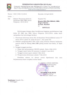Info Sma Smk Kabupaten Boyolali Edaran Penentuan Kriteria Kelulusan Sma Smk Tahun Pelajaran