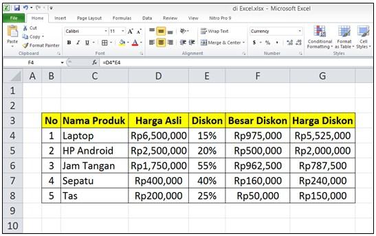 Cara Menghitung Diskon di Excel dari Total Harga
