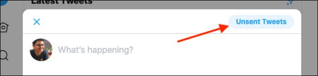 """انقر أو اضغط على """"تغريدات غير مرسلة""""."""