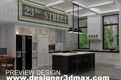 Design 3d dapur ruang makan mewah nuansa hitam putih lampu island