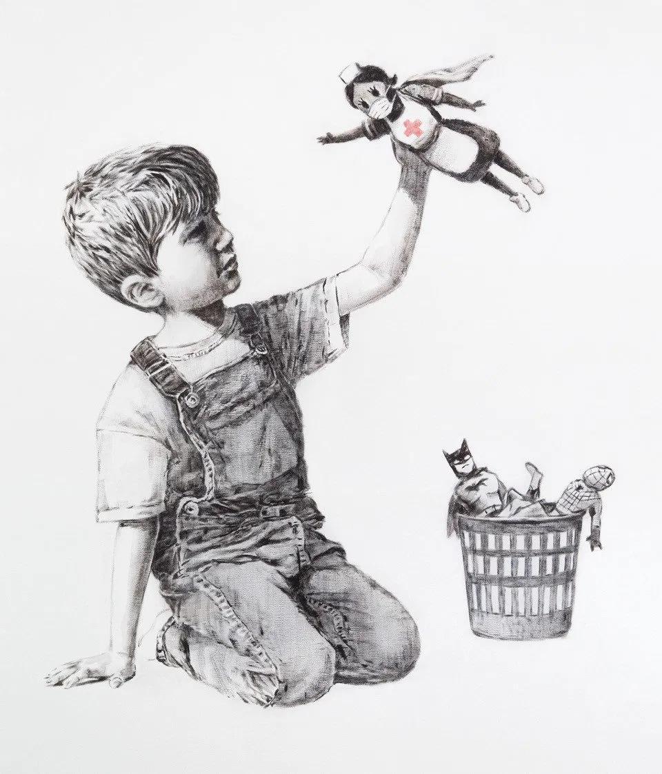 Banksy's superhero tribute to nurses, posted on Sunday, 10 May 2020