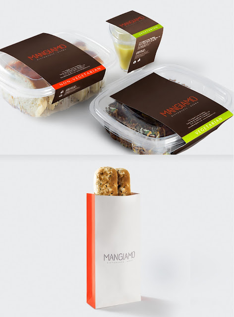 creative salad and pizza food packaging design