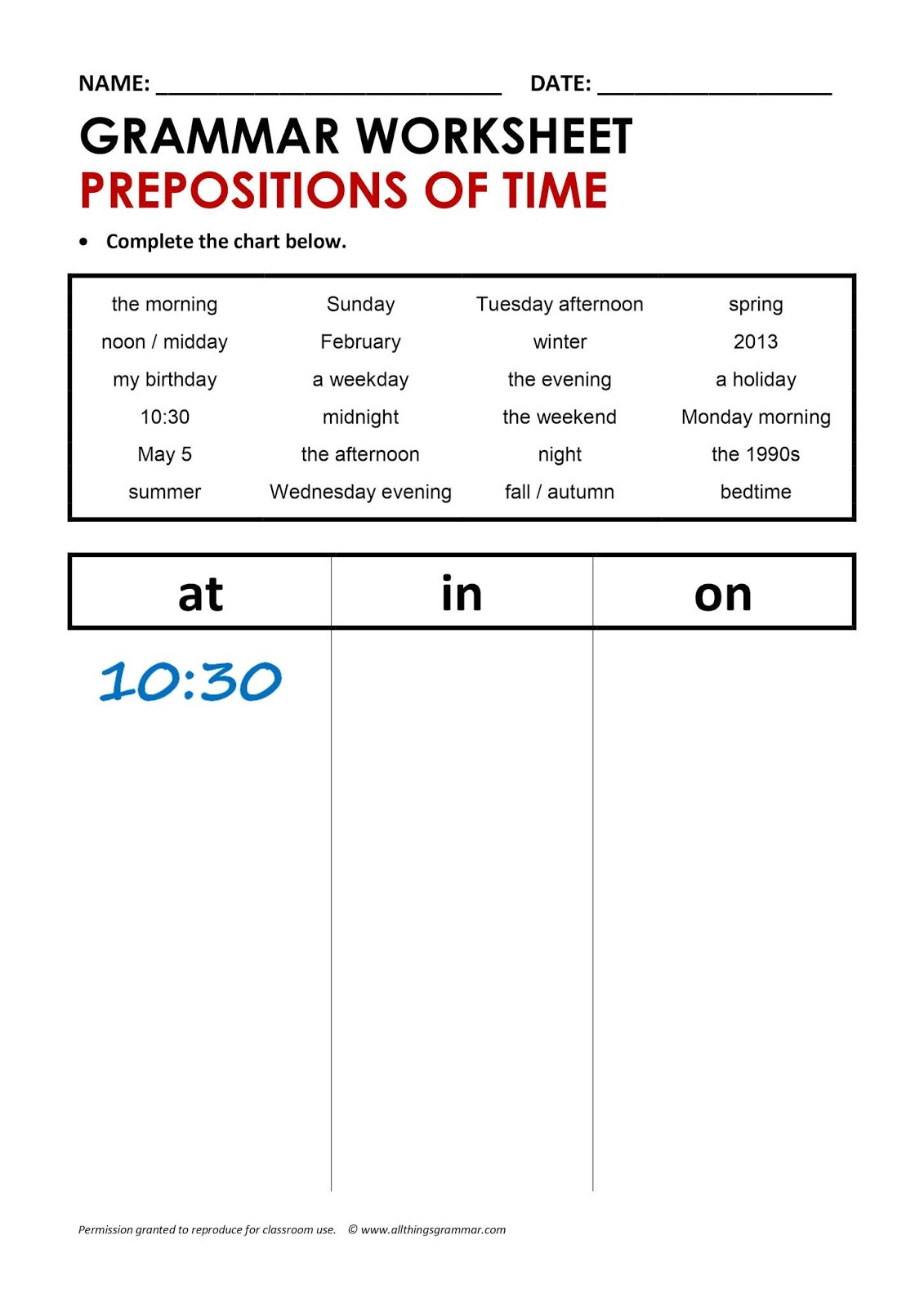 Aula De Ingles Prepositions Of Time In On At